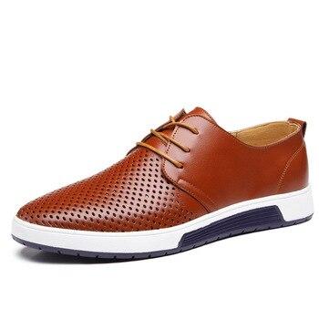جديد 2019 الرجال حذاء كاجوال جلد الصيف ثقوب تنفس الفاخرة العلامة التجارية حذاء مسطح للرجال انخفاض الشحن