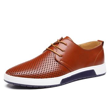 Nowe 2019 męskie obuwie skórzane letnie z oddychającymi otworami luksusowe markowe buty na płaskiej podeszwie dla mężczyzn Drop Shipping tanie i dobre opinie Classic zapatillas Skóra Split RUBBER XS4E23 Lace-up Pasuje prawda na wymiar weź swój normalny rozmiar Mokasyny Geometryczne