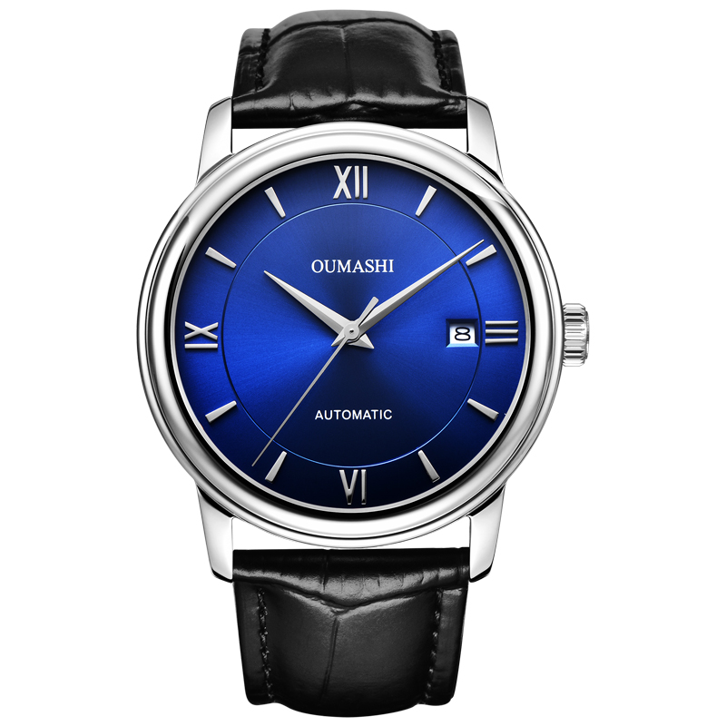 watch men automatic mechanical watch date waterproof 316L Solid stainless steel Leather 40MM OMS2