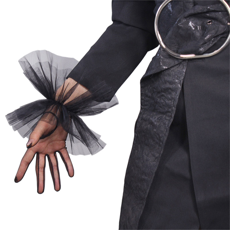 TULLE GLOVES Lace Semi Sheer Mesh Short Black Ruffle Hem Elastic Cuffs Lace Trim Women Evening Gloves WWS12