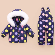 цена на Children Winter Clothes Set Duck Down Jacket Baby Ski Wear Girls Infant Kids Parka Snowsuit Warm Toddler Winter Coat + Jumpsuit