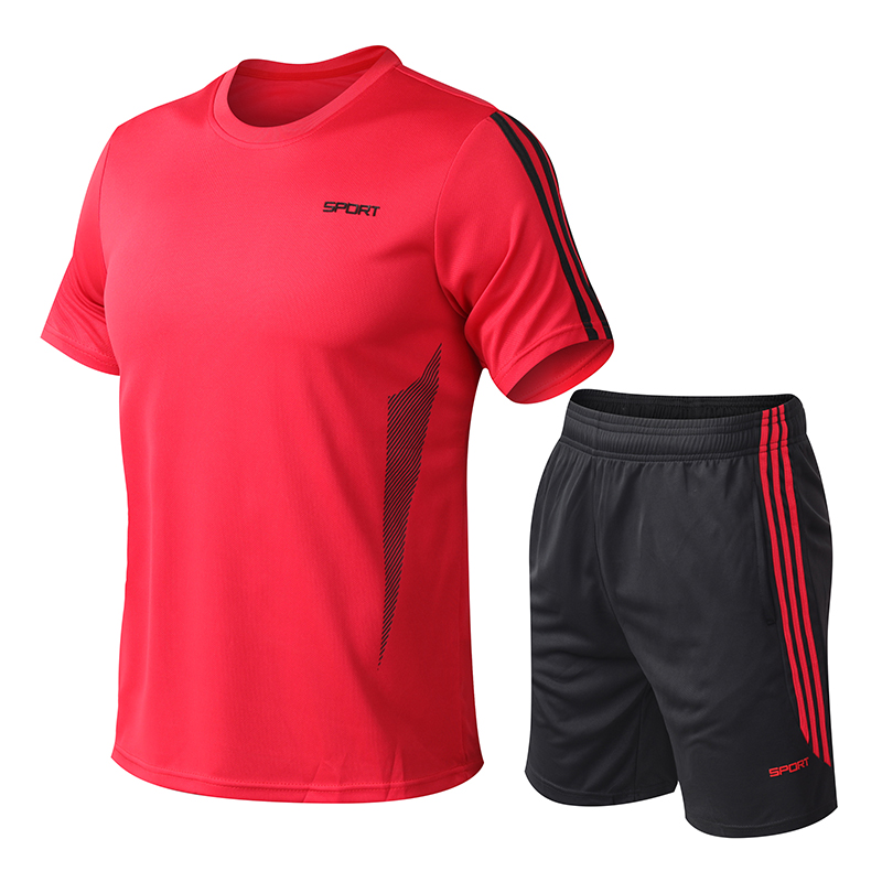 Running Tracksuit Pants Sets Basketball Sportsuit Short Sleeve Striped 2 Pieces Packing Quit-Dry Summer Jogger Set Men