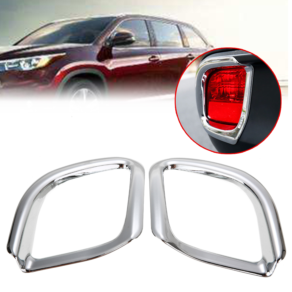 Car ABS Chrome Rear Fog Light Lamp For Toyota Highlander//Kluger 2014-2018