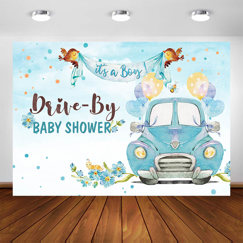 Drive By Baby Shower Decoration Backdrop Drive Through Social Distancing Boy Baby Shower Photo Background Supplies