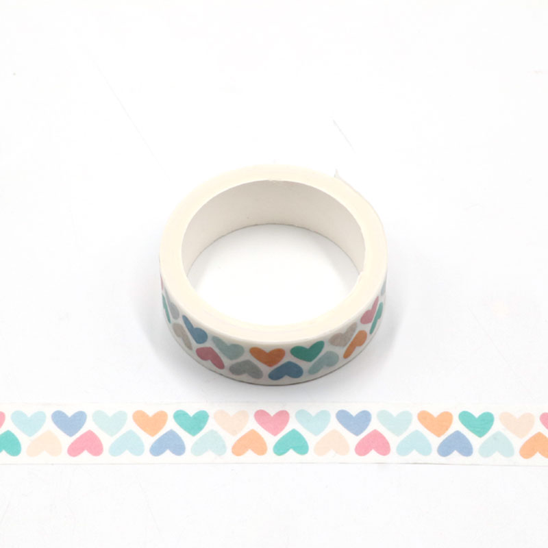 1pcs Colorful Love Heart Washi Tape Adhesive Paper Tape School Office Supplies DIY Scrapbooking Decorative Sticker Tape 5m
