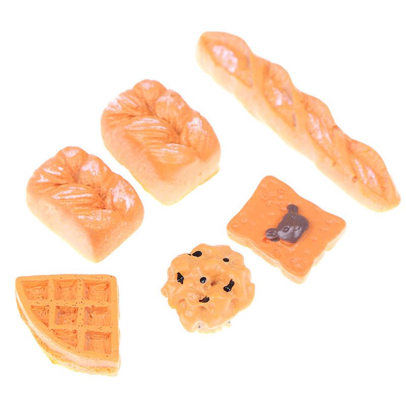 6Pcs/set 1:12 Mini Artificial Bread Bakery Bread Kitchen Food Items Miniature Vintage Accessories For Dollhouse