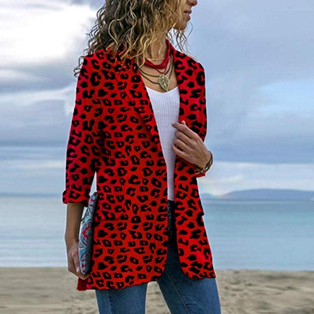 LOOZYKIT Women Vintage Sexy Leopard Print Blazer Long Sleeve Coat Female Outerwear 2019 Fashion Feminine Tops
