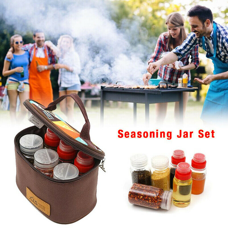 7Pcs Portable Seasoning Jar Kitchen Condiment Container Barbecue Utensils Camping Cruet Outdoor Spice Box