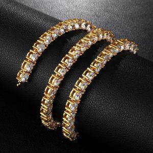 Image 3 - HIP HOP 3/4/5/6MM Bling glacé cuivre Zircon Tennis chaîne breloque longue chaîne à maillons collier pour hommes bijoux