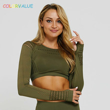 Colorvalue Seamless Hollow Out Fitness Jogger Crop Shirts Women Slim Fit O-neck Plain Gym Yoga Workout Crop Tops with Thumb Hole colorvalue hollow out sport shirts top women slim fit mesh yoga fitness top long sleeve high flexible solid gym workout jersey