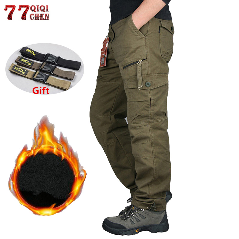 Men Winter Thick Warm Cargo Pants Cotton Fleece Joggers Trousers Combat Overalls Male Multi Pockets Loose Baggy Military Pants