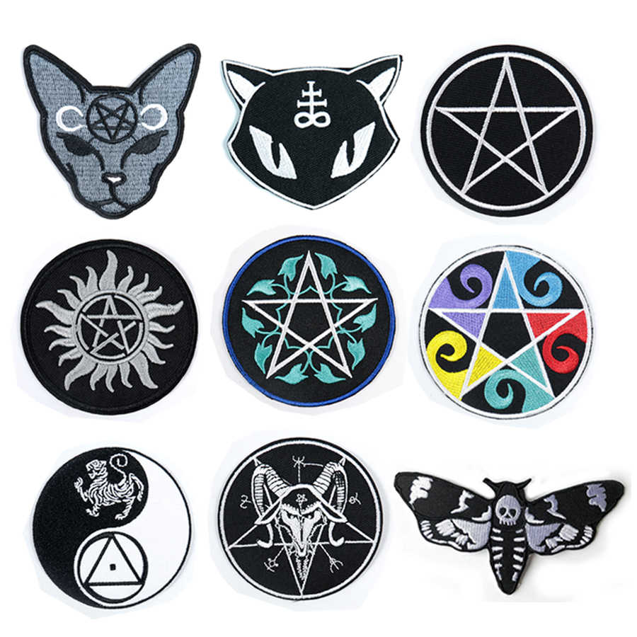 Cartoon Death Shead Mot Vlinder Kat Maan Baphomet Devil Pentagram Gothic Punk Pentagram Satanisch Wicca Heks Applique Patches