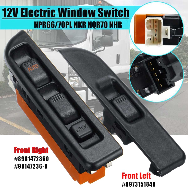 2Pcs Car Front Left & Right Side Electric Window Switch For ISUZU NPR66/70PL NKR NQR70 NHR RHD 8973151840 8981472360