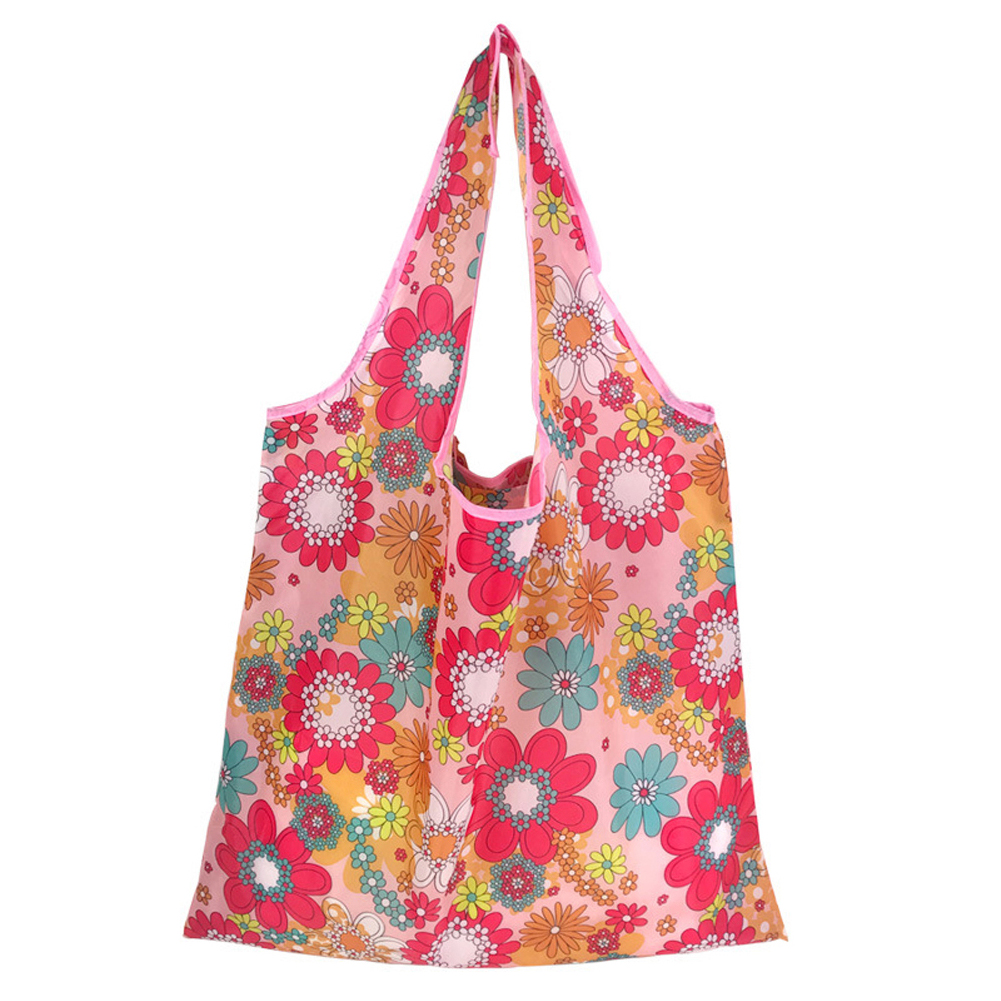 Tote Reusable Storage Anti Tear Home Foldable Travel Shopping Bag Daily Grocery Soft Printing Wide Strap Lightweight