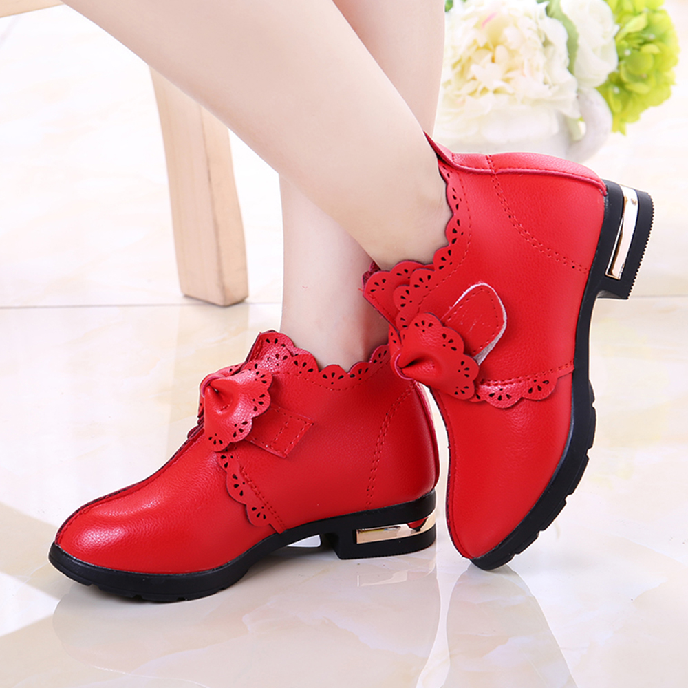 Boys Girls Faux Leather Ankle Boots Kids Warm Winter Casual School Formal Shoes
