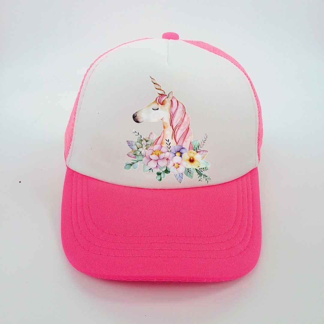 女の赤ちゃん帽子キャップアクセサリーのための 3-8 歳の女の子ユニコーン野球帽夏の太陽トラック帽子キャップ子供子供