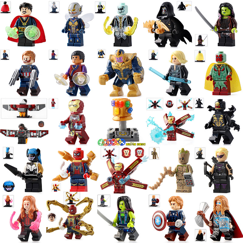 26 Style Superheroe Playmobil Uilding Block Doll Iron Man Figurines Assembled Minifigures Boys 4-12 Years Old Compatible