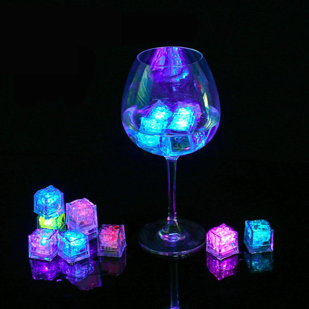 3Pcs LED Light Ice Cubes Luminous Night Lamp Party Bar Wedding Cup Decoration Event Party Glow Party Supplies