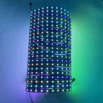 SK6812 addressable RGB full color flexible LED Pixel Panel Light;DC5V input;black pcb;non-waterproof;60leds/m