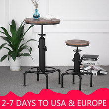 iKayaa Pinewood Top Round Pub Bar Table Height Adjustable Swivel Counter Bistro Table Industrial Pipe Style Kitchen Dining Table(China)