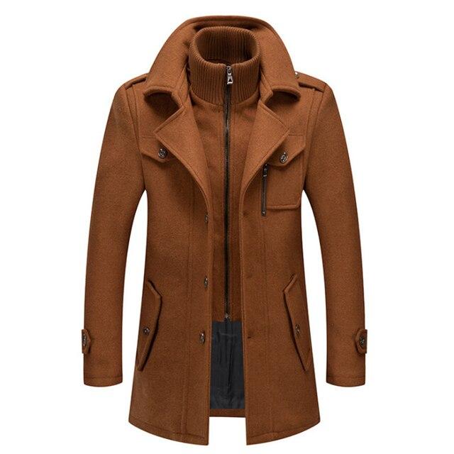 New Men Wool Blends Coats Autumn Winter Solid Color Cold Resistant Men Woolen Overcoat Double Collar Casual Trench Coat Male 4