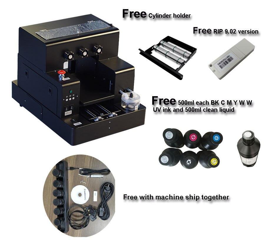 Impresora plana UV tamaño A4 automática para fundas de teléfono, botellas, acrílico, cuero 6*500 ML/set de tinta UV incluida