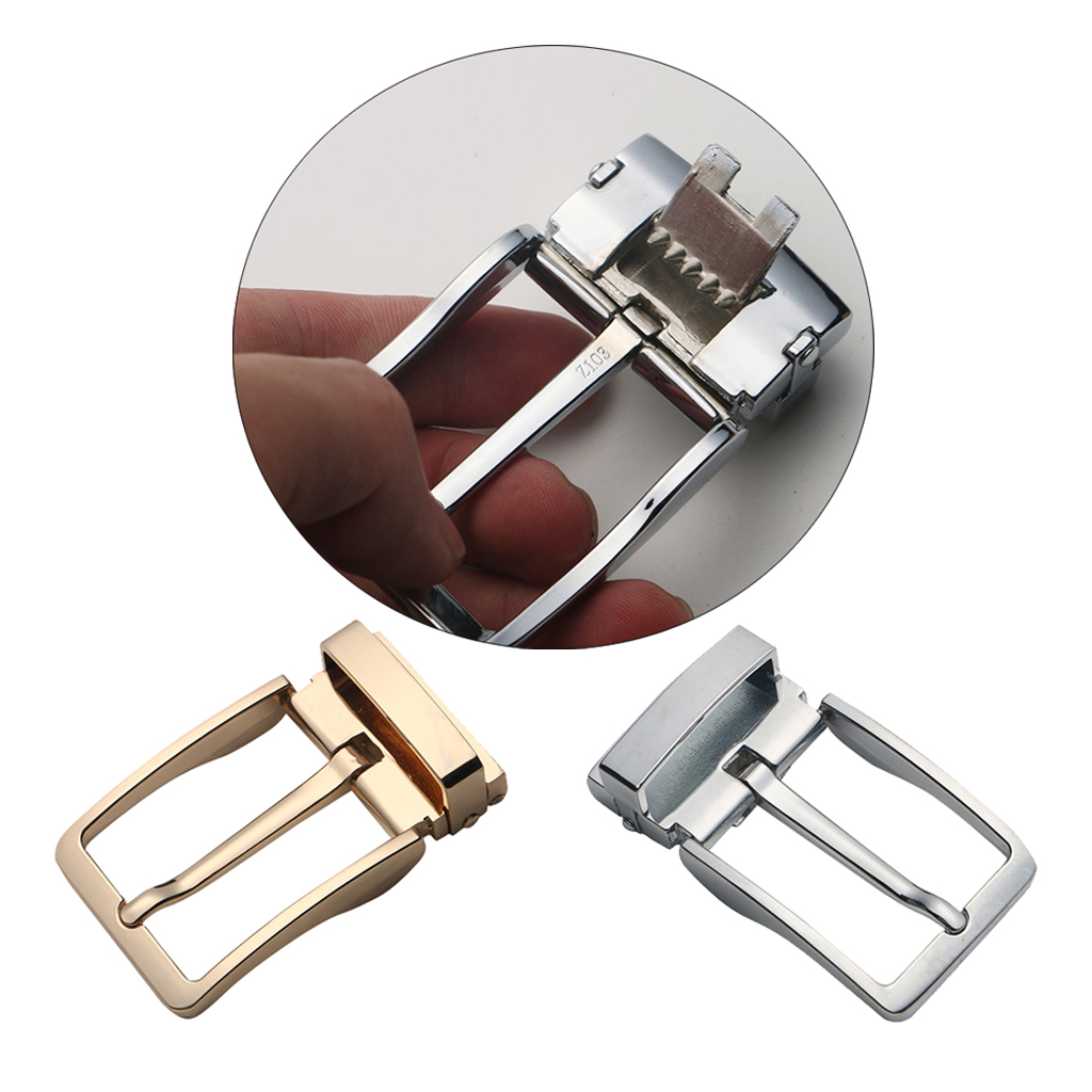 Men Reversible Metal Alloy Belt Buckles Replacement Rectangular Pin Buckles Gold Silver Color Waistband Buckle