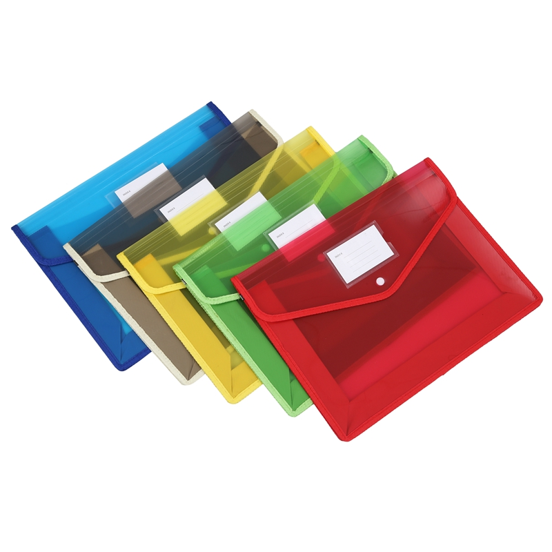 5Pcs/Set A4 Plastic File Wallet Document Folder Premium Poly Pockets Envelope With Business Card Holder