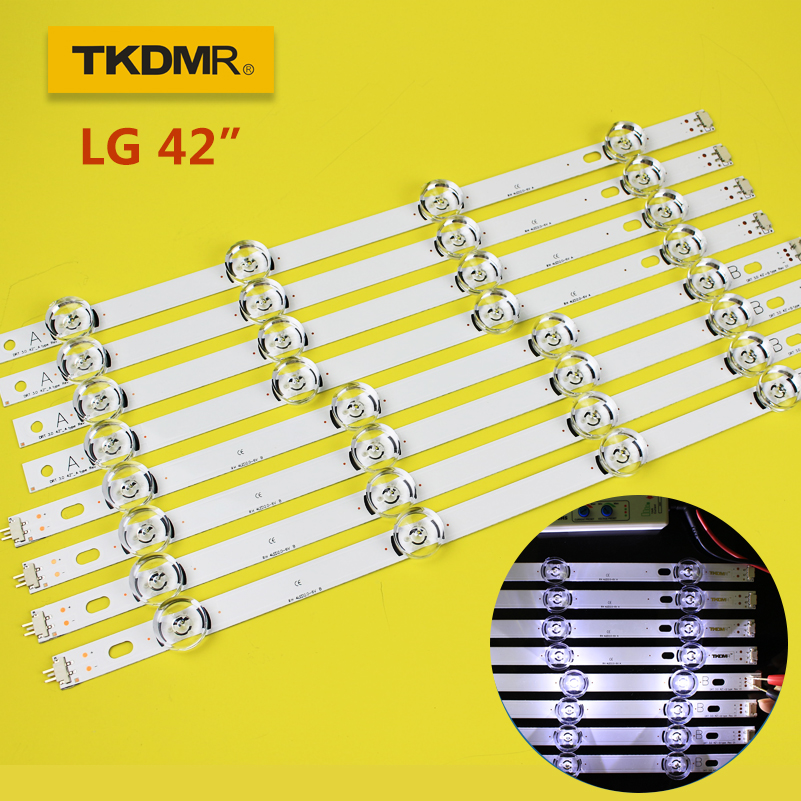 "TKDMR LED Backlight Strip 8 Lamp For LG 42"" TV INNOTEK DRT 3.0 42 6916L 1709B 1710B 1957E 1956E 6916L-1956A 6916L-1957A 42LB561V"