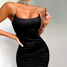 Solid Diamond Thin Strap Bodycon Sexy Mini Dress Party Club Sleeveless Women 2020 Summer Fashion Outfit Female Short Clothes