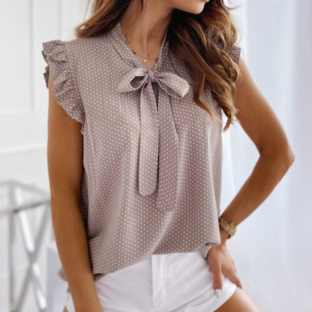 Women Blouses Butterfly Short Sleeves Shirt  Summer Bow Lace Up Polka Dot Female Tops Ruffle Pullover Vintage Blusa 5