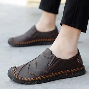 Image 5 - Chaussures pour hommes printemps et automne nouveaux hommes daffaires sans lacet cuir dâge moyen et les personnes âgées en cuir chaussures hommes papa pointure