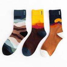 Unisex Painting Style Men Socks 100 Cotton Harajuku Colorful Full Socks Men 1 Pair Gifts Size 35-43 unisex street fashion happy men socks 100 cotton harajuku colorful kawaii full socks men 1 pair size 35 43