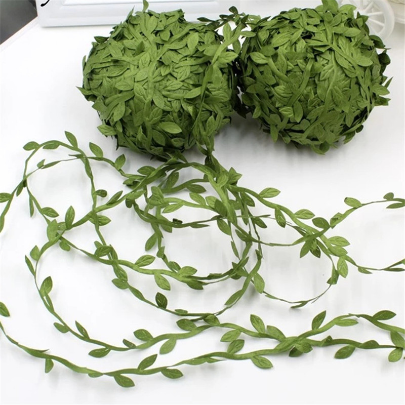 10yards Silk Leaf-Shaped Handmake Artificial Green Leaves for Wedding Decoration DIY Wreath Gift Scrapbooking Craft Fake Flower(China)