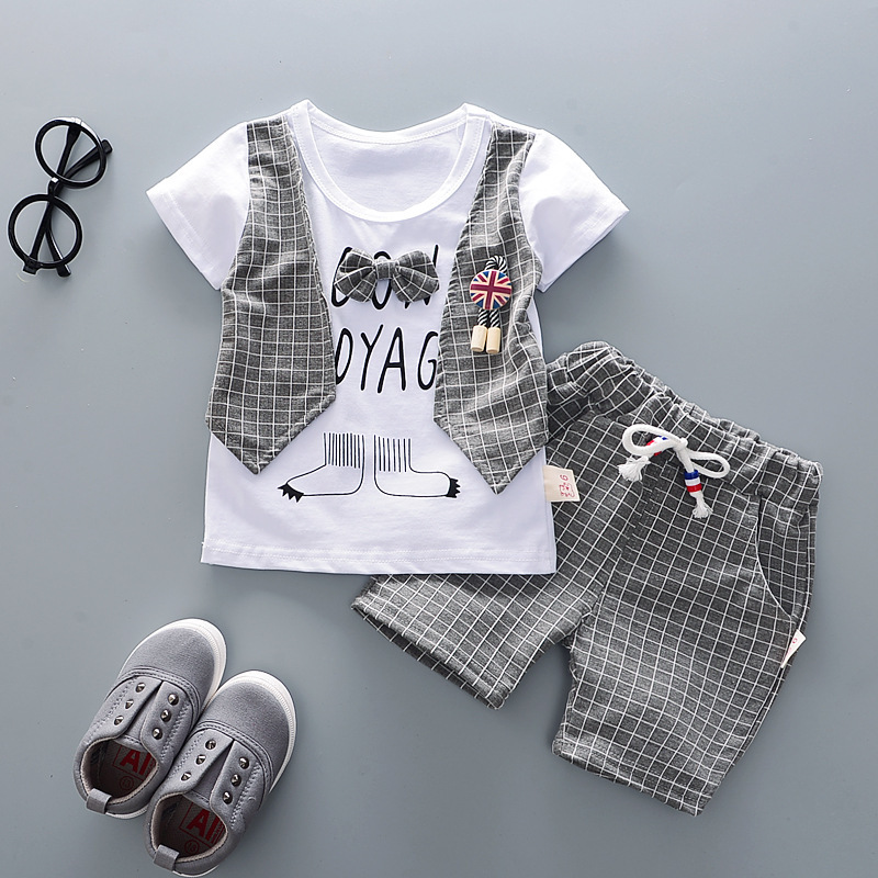 Cotton Boys Clothes Sets Suit For Boy Summer Shirts Shorts 2 pieces Suit Children Set Clothing Kids New baby Toddler 1 year Wear 3