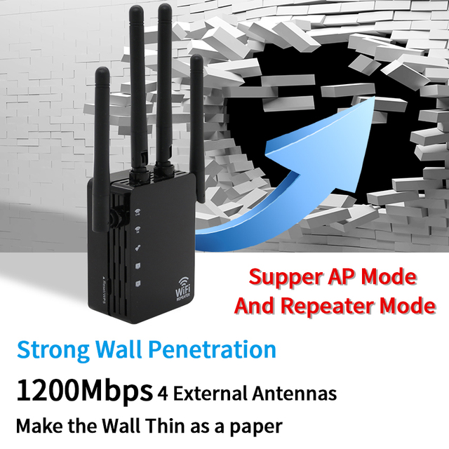 2.4G/5.8G Wifi Amplifier Wifi Repeater 1200Mbps Wifi Router Long Range Extender Home Wifi Signal Booster With 1*100M Lan Port 2
