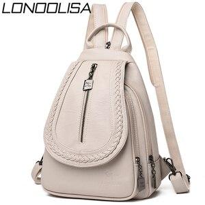 Image 1 - Kadın deri sırt çantaları yüksek kaliteli kadın sırt çantası göğüs çantası rahat günlük çanta kese Dos bayanlar sırt çantası seyahat okul sırt paketi
