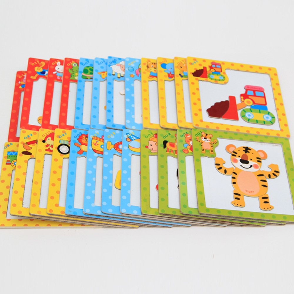 24 Style 3D Magnetic Puzzle Jigsaw Wooden Toys 15*15CM Cartoon Animals Traffic Puzzles Tangram Kids Educational Toy For Children