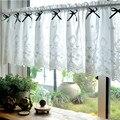 Короткая занавеска DUNXDECO для кухонной двери  полупрозрачная занавеска во французском стиле  романтичная белая хлопковая кружевная вышивка  ...