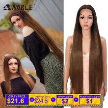 Noble Hair peruki dla czarnych kobiet prosto syntetyczna koronka przodu włosów 38 Cal Ombre koronkowa peruka na przód Cosplay blond koronkowa peruka na przód