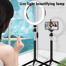 20cm led selfie 링 라이트 3200 k 5500 k 삼각대 라이브 방송 소품과 고품질 사진 디 밍이 가능한 비디오 채우기 램프
