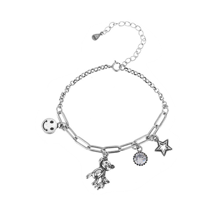 ANENJERY Dainty Handmade Thai Silver Color Bear Smiling Face Star Zircon Necklace+Bracelet Jewelry Sets For Women Gift