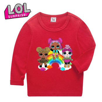 LOL Surprise Dolls 3-12 Years Girl Clothing Sweet and Cute Long Shirt Lol Doll Boys Clothing Cotton Fabric Sweatshirt Gifts HT06