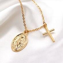 Corrente longa virgem maria cruz colar feminino pingentes clavícula gargantilha colar colares jóias presentes para mulher xl1094