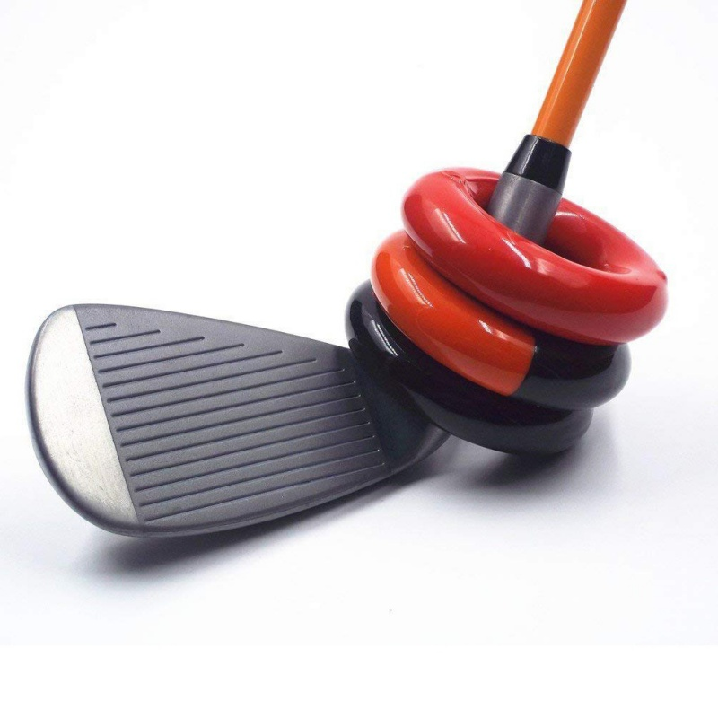 New Hot Golfing Weighted Practice Tool Metal Round Weight Power Swing Ring For Golf Clubs Warm Up Golf Training Aid Black & Red