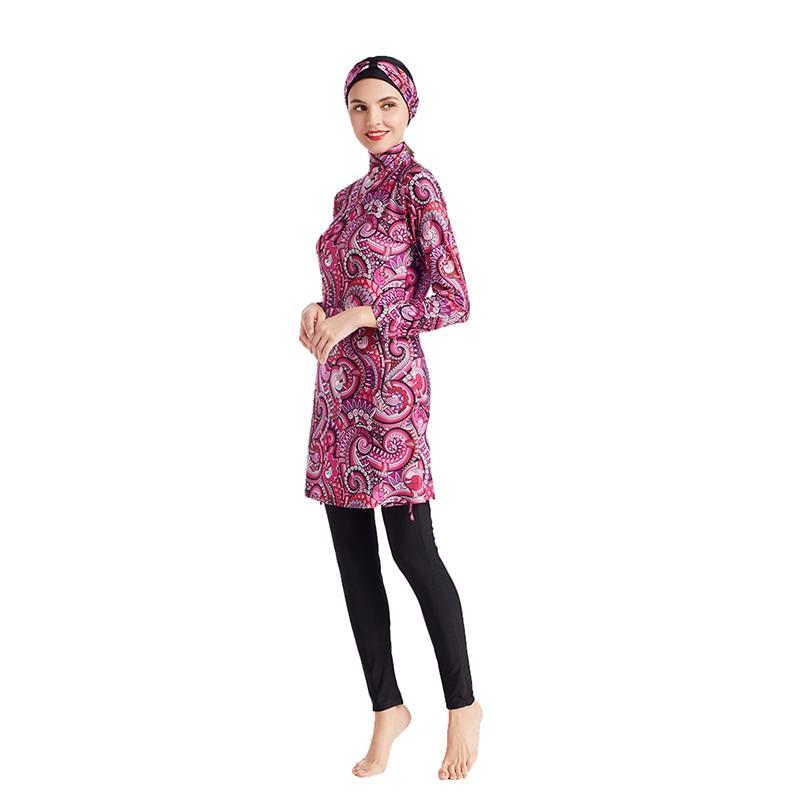 Women Printing Floral Muslim Swimwear Hijab  Islamic Swimsuit Swim Surf Wear Sport Burkinis