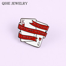 Poker King Queen Couple Enamel Pin I'm yours Meme Lovers Brooch Bag Clothes Lapel Pin Sweet Badge Jewelry Valentine's Day Gift(China)