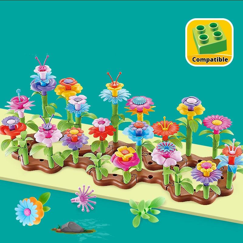 54Pcs DIY Flower Building Block  Bouquet Girls Gift Interconnecting Blocks Toys Educational Creative Pretend Play Toys