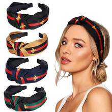 New Arrival Bee Pattern Hairbands Turban Striped Hair Bezel Headband Intermediate Knot Hoop For Women Girl Accessories