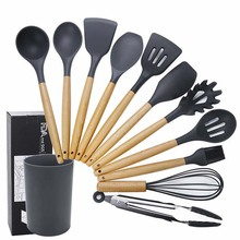 11pcs Silicone Cooking Tools Set Kitchen Utensil Set Household Wooden Koken Gereedschap Met Opbergdoos Turner Tang Spatel Turner